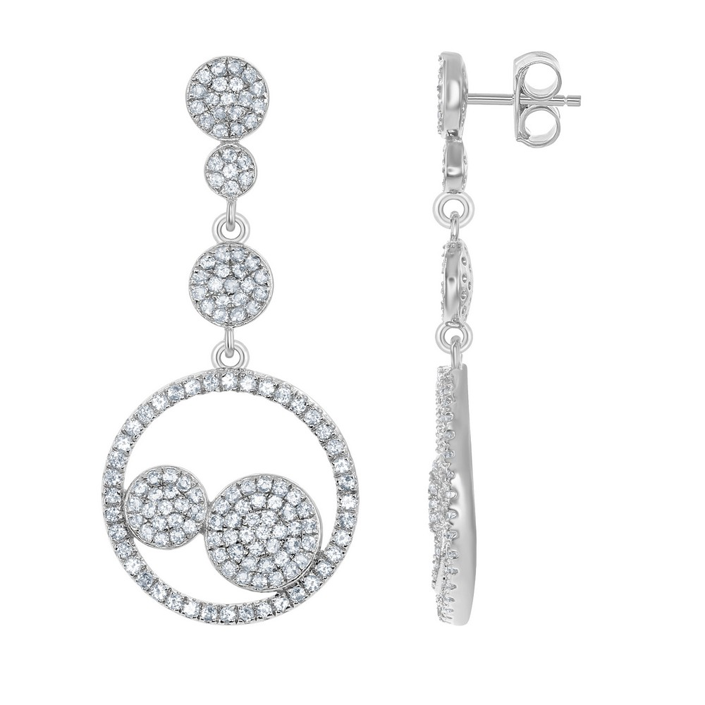 Sterling Silver 2.45cttw White Topaz Round Bridal Earrings