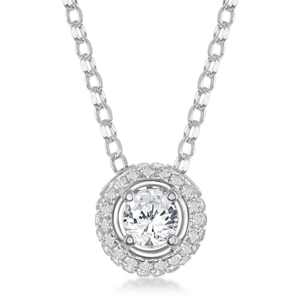 Sterling Silver 4mm Round White Topaz Surrounded by White Topaz 1.4cttw Pendant
