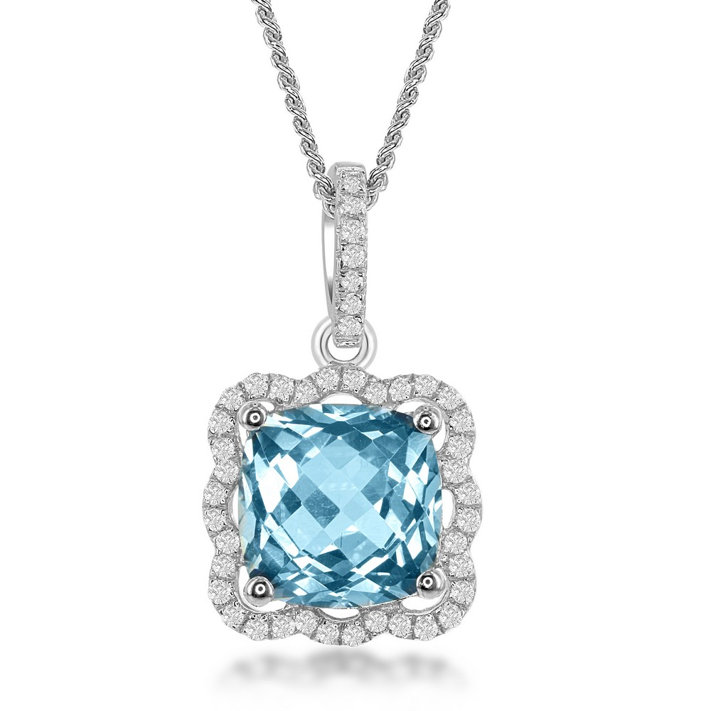 Sterling Silver Square Blue Topaz with Scalloped White Topaz Border 4.4cttw Pendant