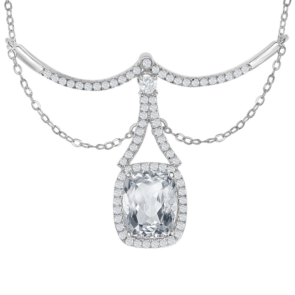 SterliNg Silver Y Design 6.65 cttw White Topaz Dangling Rectangle Bridal Necklace