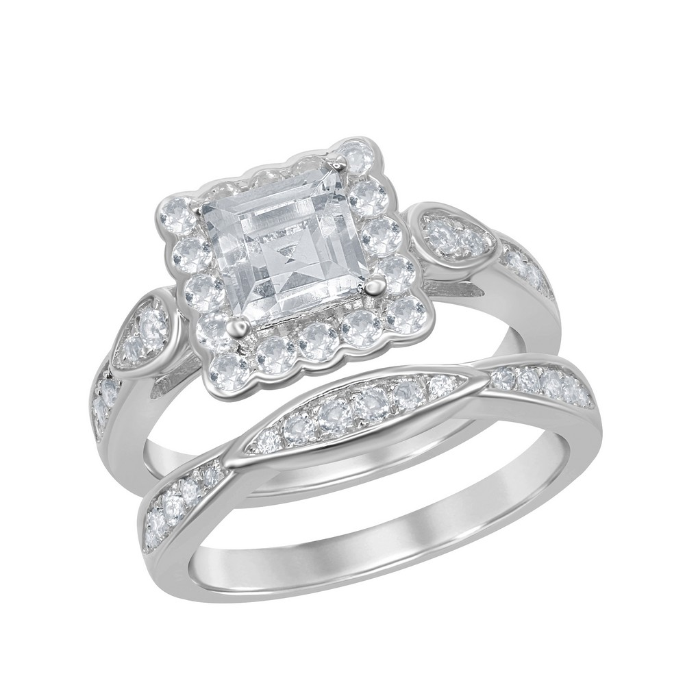 Sterling Silver Square Halo Designed 2.35 cttw White Topaz Wedding and Engagment Bridal Ring