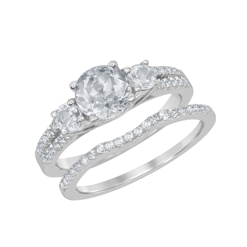 Sterling Silver Halo Designed Triple 2.4 cttw White Topaz Wedding and Engagment Bridal Ring