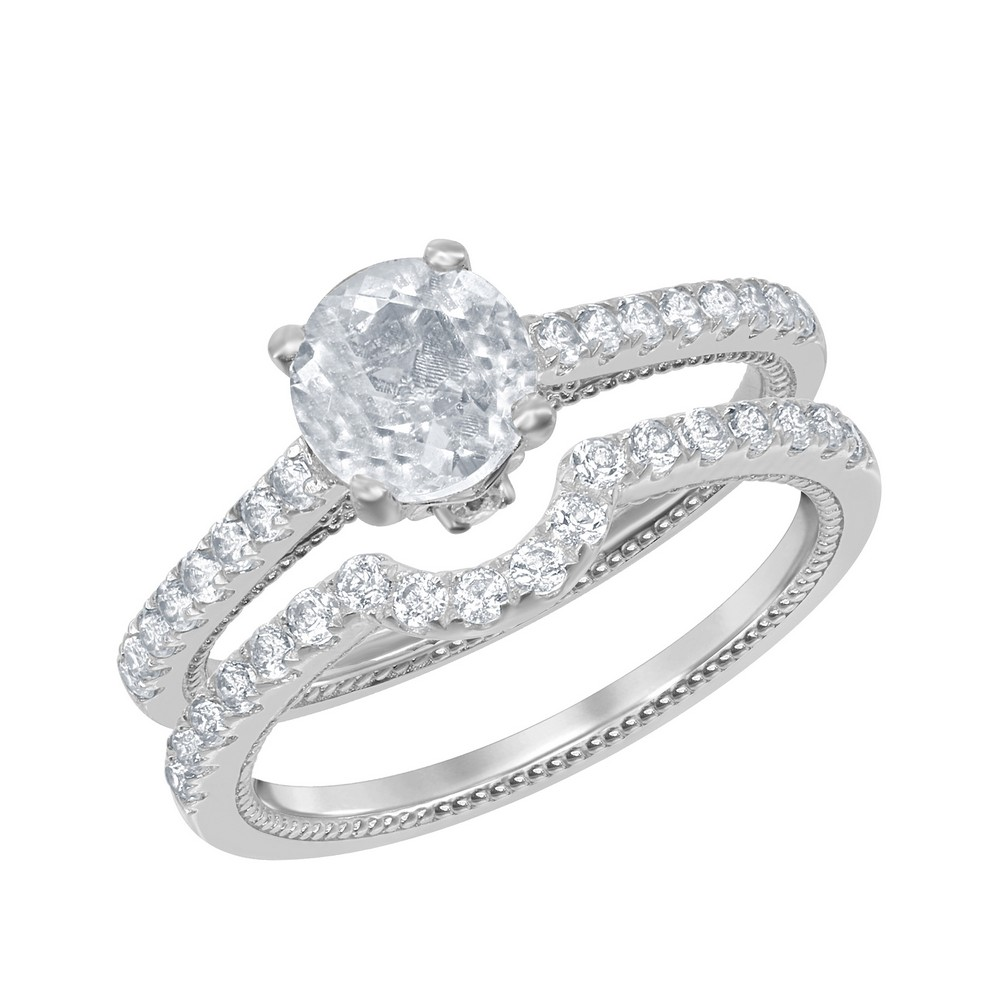 Sterling Silver 1.95 cttw White Topaz Wedding and Engagment Bridal Ring
