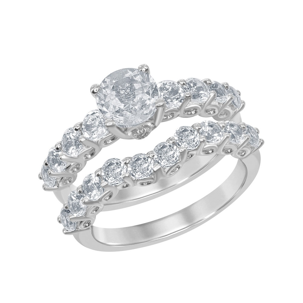 Sterling Silver 3.95 cttw White Topaz Wedding and Engagment Bridal Ring