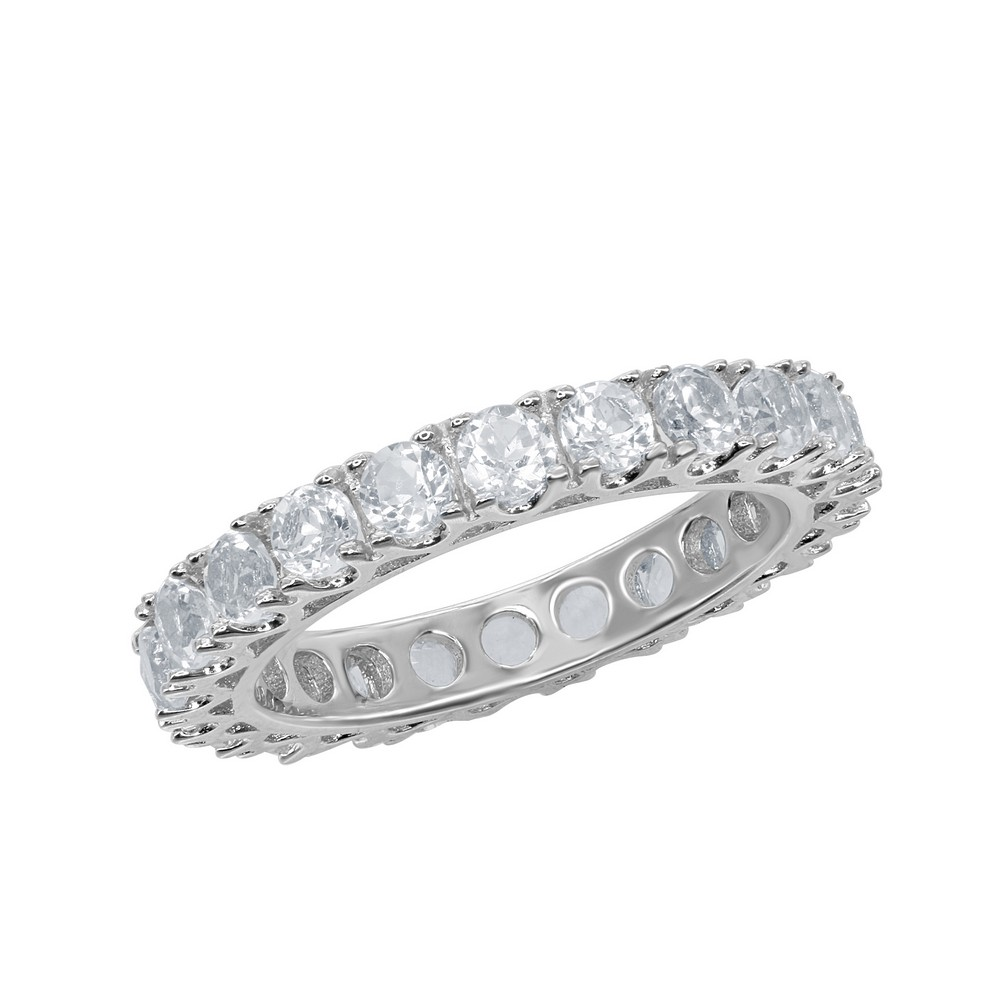 Sterling Silver Pronged 3.30cttw White Topaz Ring