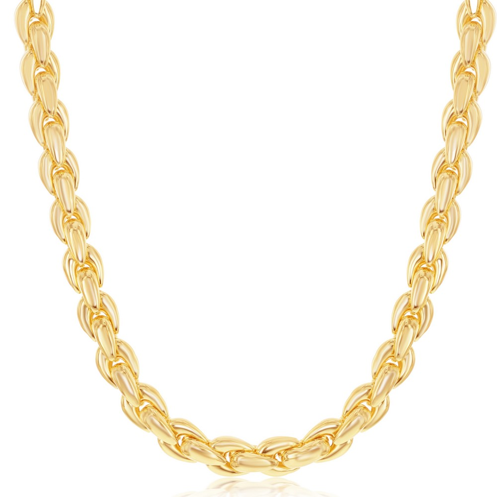 SterliNg Silver With 14K Gold Overlay, Oval-Linked Necklace, MADE IN  ITALY