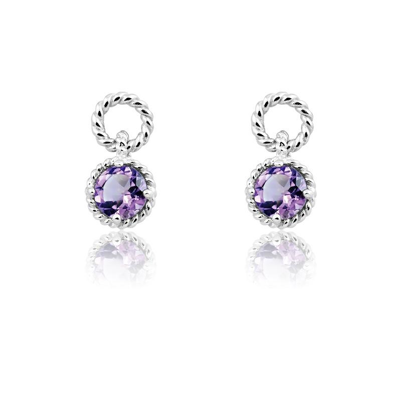Sterling Silver Amethyst Gemstone Twisted Wire Circle Earrings