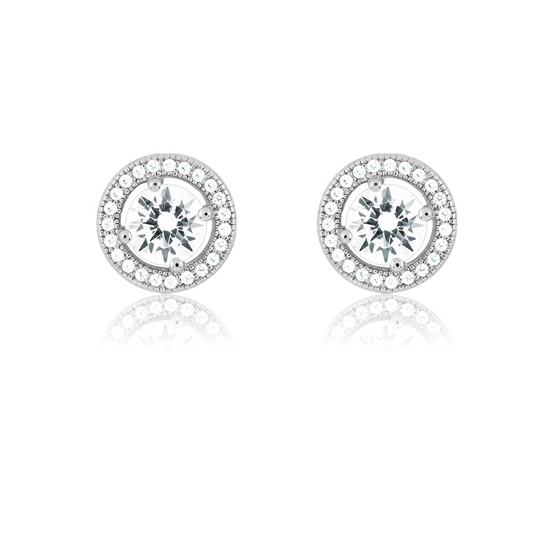 Sterling Silver Center Circle CZ and Micro Pave Earrings (48 stones)