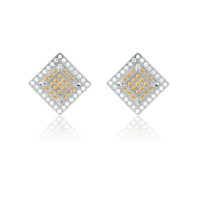 Sterling Silver White and Champagne Micro Pave Square Earrings (98 Stones)