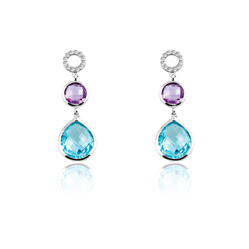 Sterling Silver Amethyst Circle and Blue Topaz Teardrop Gemstone With  CZ Dangling Earrings