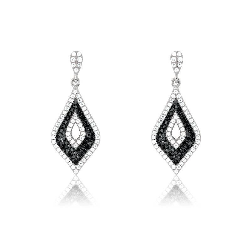 Sterling Silver Black and White Micro Pave Earrings (196 stones)