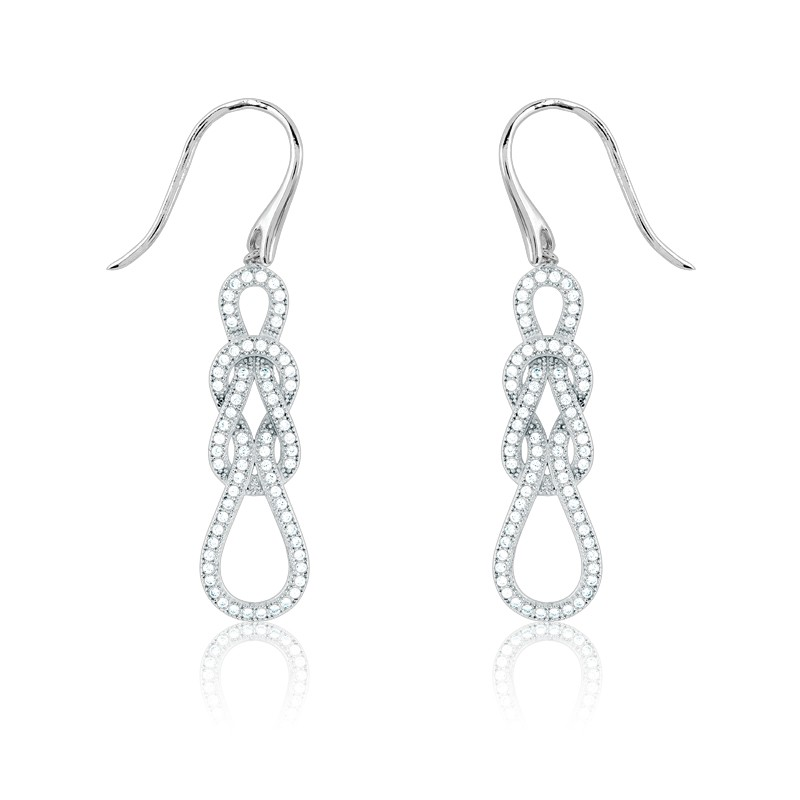 Sterling Silver Micro Pave Love Knot Earrings (136 stones)