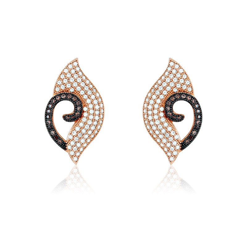 (SPECIAL ORD) Sterling Silver Rose-Gold with White and Brown Micro Pave Earrings (182 stones)