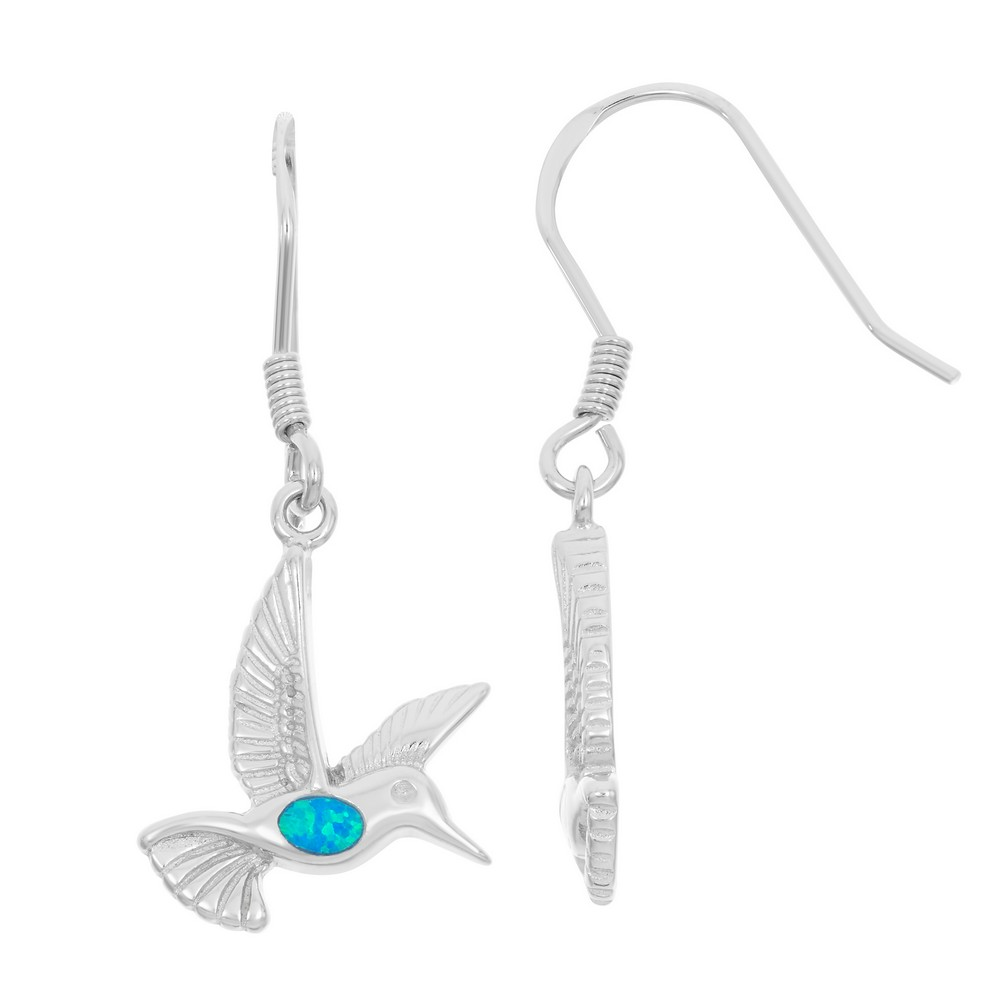 Sterling Silver and Blue Inlay Opal Small Hummingbird Earrings