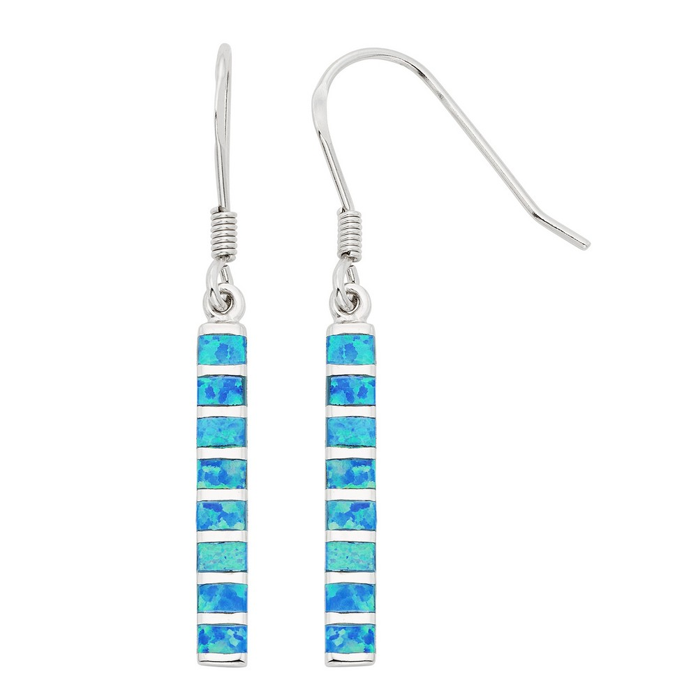 Sterling Silver and Blue Inlay Opal Long Dangling Earrings