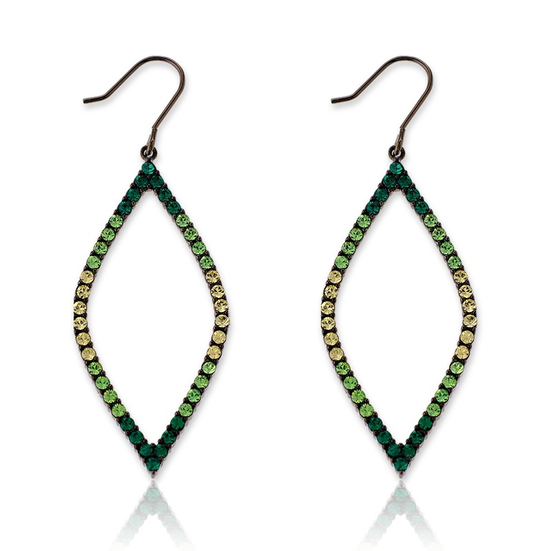 Sterling Silver Multi-tone Green Crystals Open Marquise Earrings