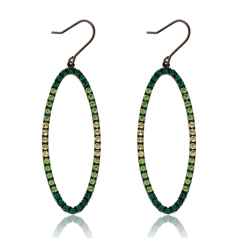 (SPECIAL ORD) Sterling Silver Multi-tone Green Crystals Open Oval Earrings