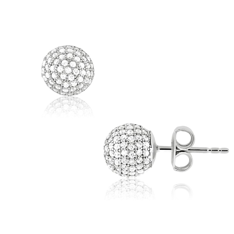 Sterling Silver Micro Pave CZ 9MM Stud Earrings