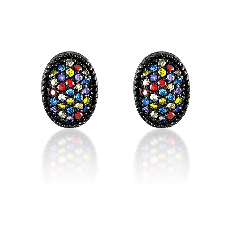 Sterling Silver Black Rhodium and Multi Colored CZ Oval Earrings