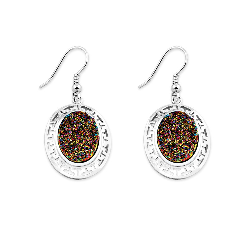 Sterling Silver Open Design Around With Rainbow Druzy Center Oval Earrings