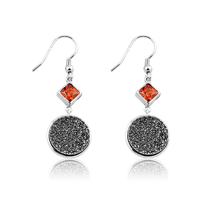 Sterling Silver Black Druzy With Red CZ on Top Round Dangling Earrings
