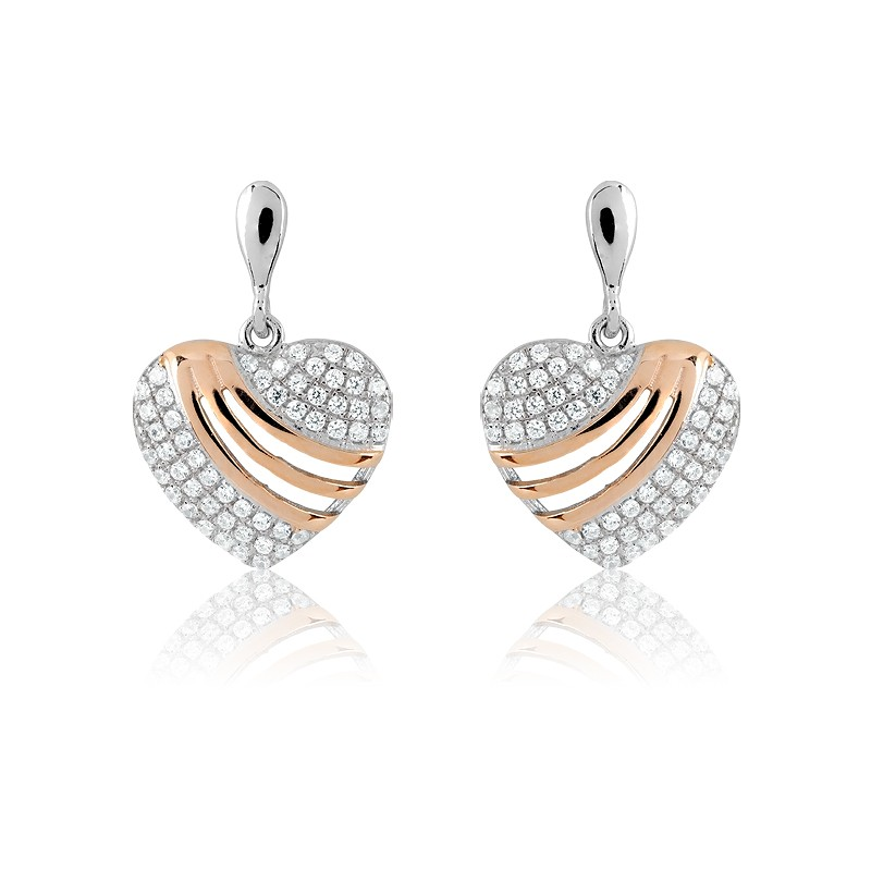 Sterling Silver Micro Pave and Rose-Gold Stripes Heart Earrings (102 stones)