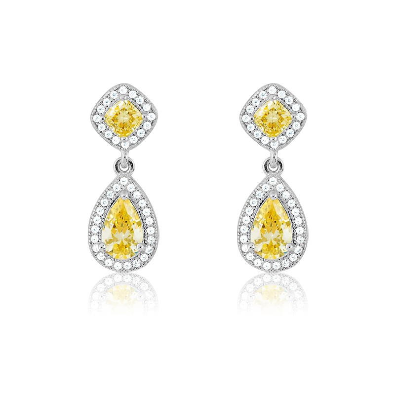 Sterling Silver Micro Pave Teardrop With Yellow CZ Center and Sqaure on Top Earrings (80 stones)