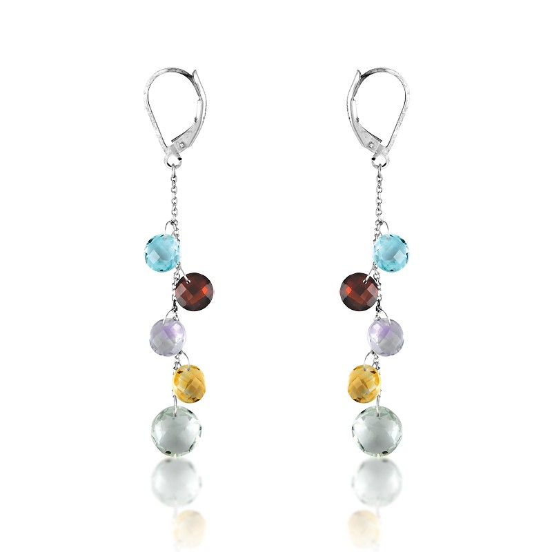 Sterling Silver French Hook Dangling Topaz, Garnet, Amy, Citrine, and Larger Peridot Gemstone Earrin