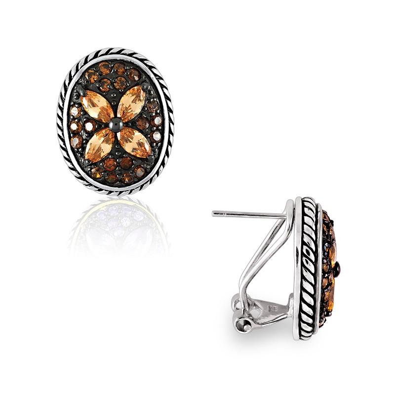 Sterling Silver Champagne CZ Flower Oval Earrings