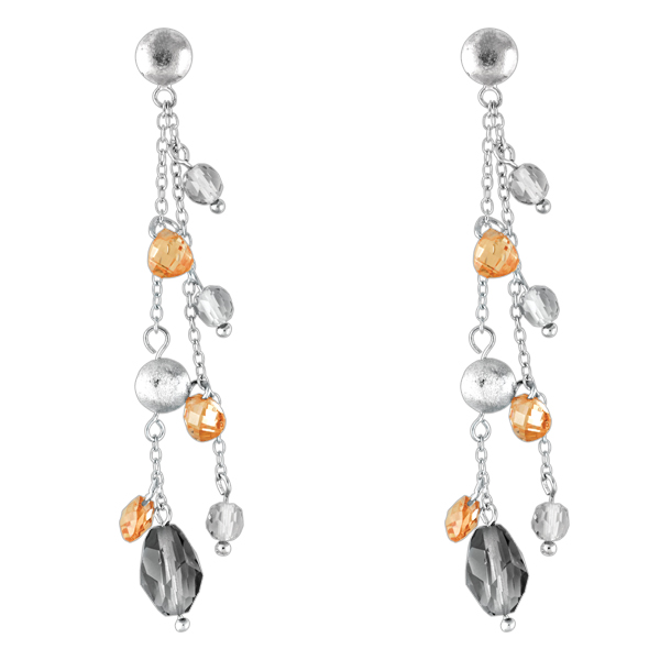 Sterling Silver Dangling Champagne and Olive CZ Earrings