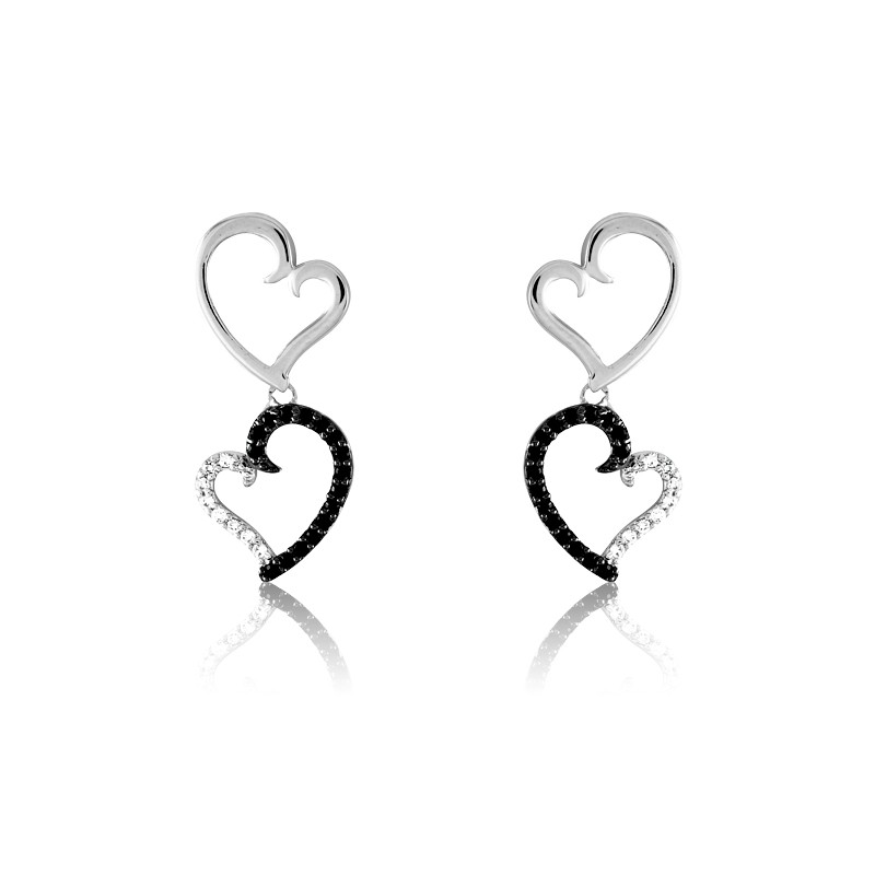 Sterling Silver and Black and White Curled Heart Dangling Earrings
