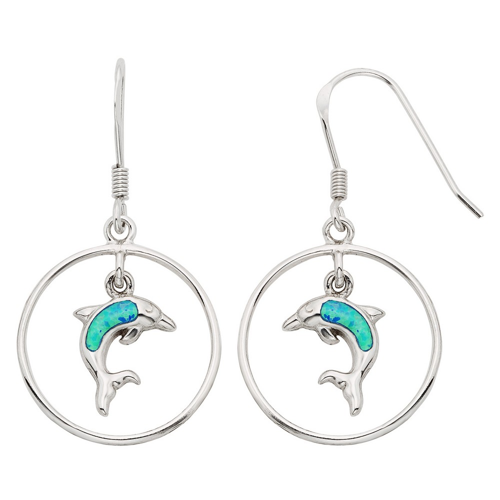 Sterling Silver Open Circle With Dangling Opal Dolphin Earrings