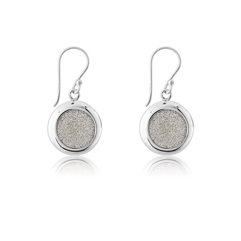 Sterling Silver Round Sparkly Silver Earrings