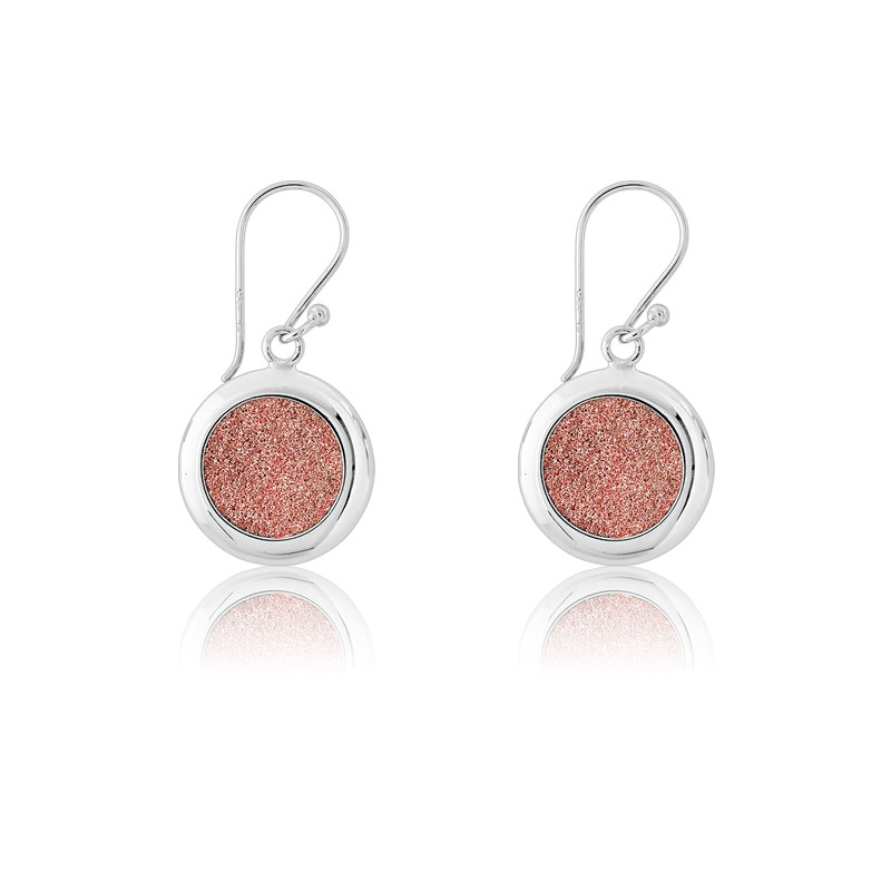 Sterling Silver Round Sparkly Pink Earrings