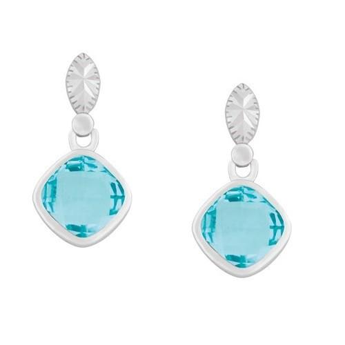 Sterling Silver Square Blue Topaz Gemstone Earrings