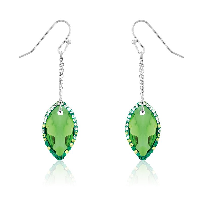Sterling Silver Marquise Green CZ With Surrounding Green Crystals Dangling Earrings