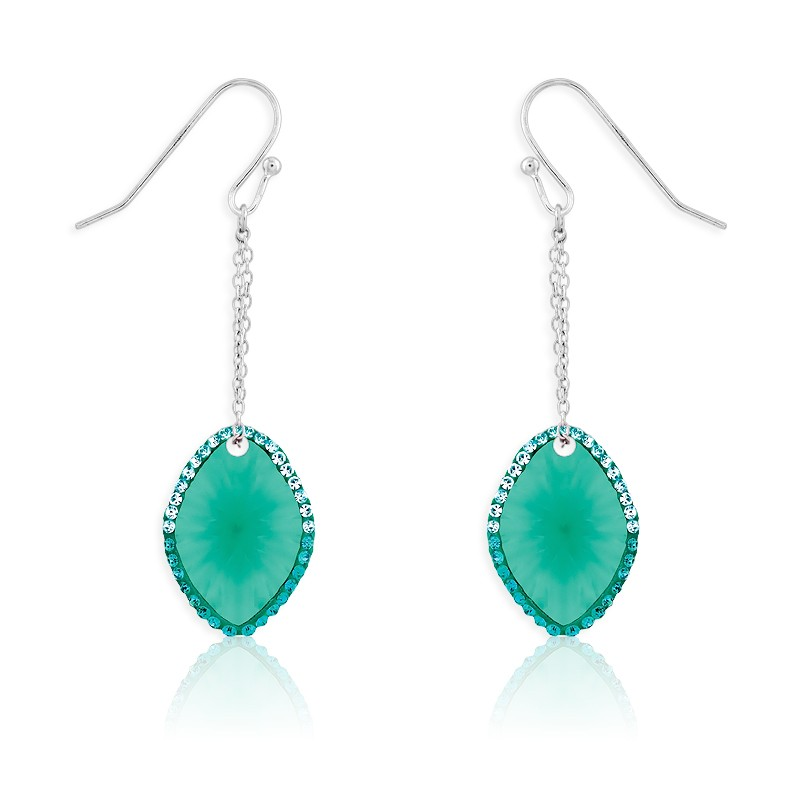 Sterling Silver Marquise Blue-Green CZ With Surrounding Green Crystals Dangling Earrings