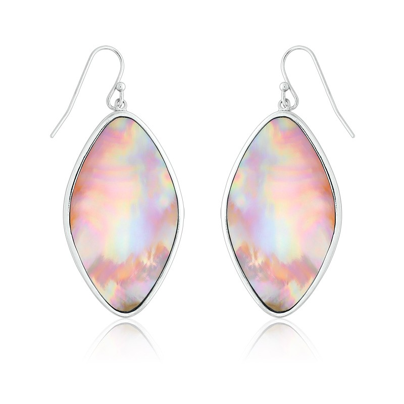 Sterling Silver Large Marquise Pink MOP Earrings