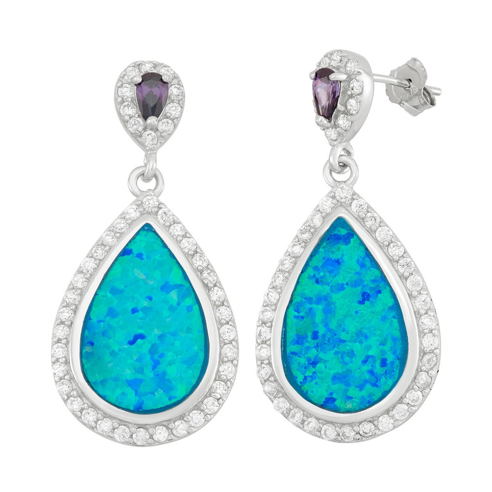 Sterling Silver Tear Shaped Blue Inlay Opal With Purple and Clear CZs Earrings
