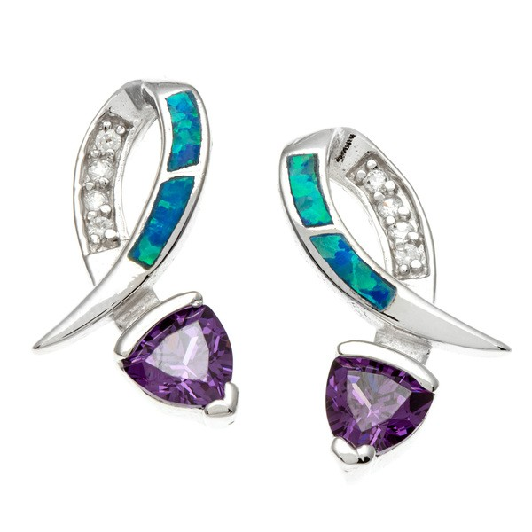 Sterling Silver CZ and Blue Inlay Opal With  Blue CZ Earrings