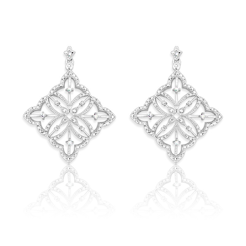 (SPECIAL ORD)Sterling Silver Square Diamond Earrings
