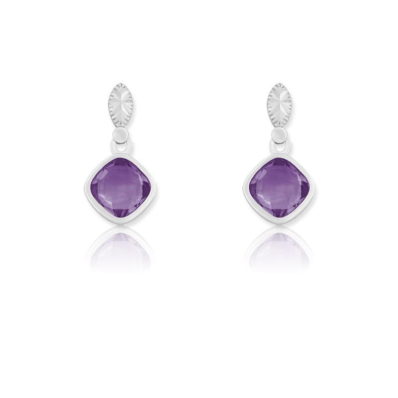 Sterling Silver Square Amethyst Gemstone Earrings