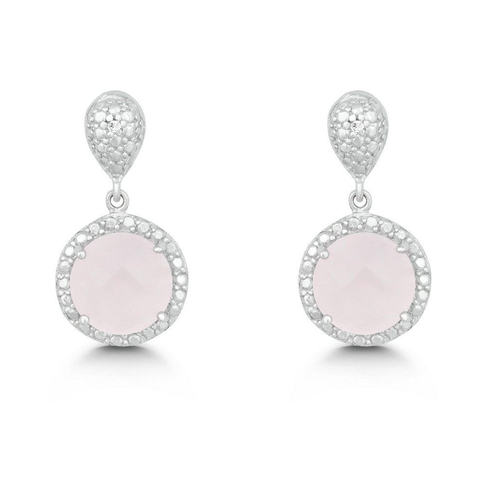Sterling Silver Diamond and Round 9mm Rose Quartz Earring