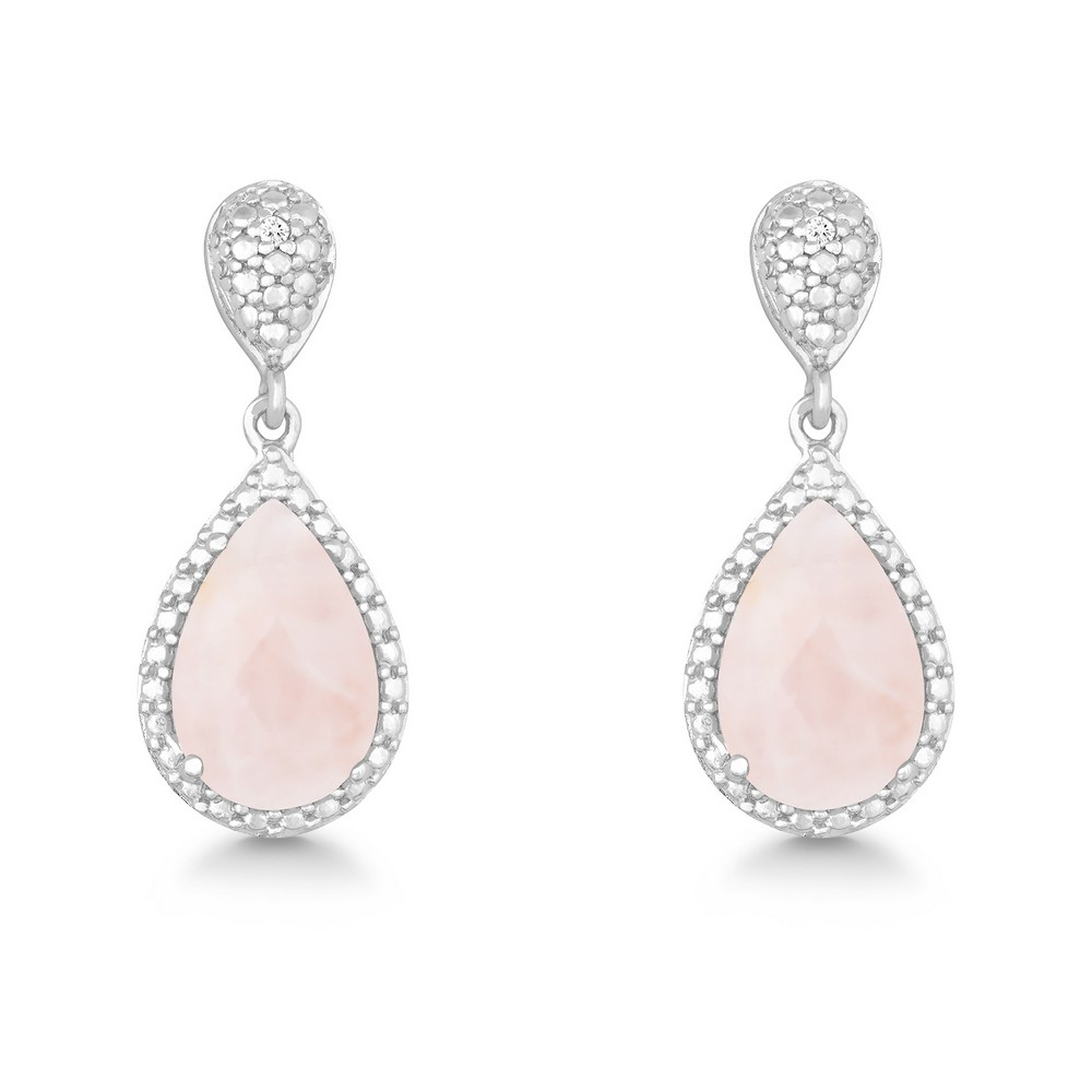 Sterling Silver Diamond and Tearshaped Rose Quartz Earring