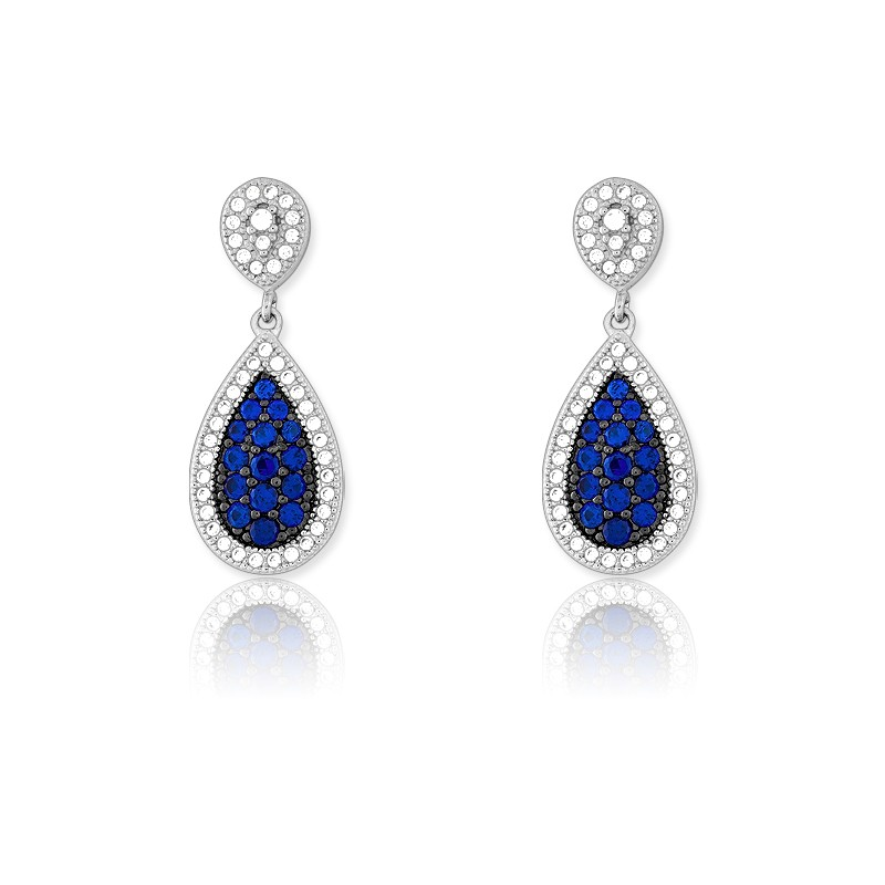 Sterling Silver Tearshaped Sapphire and White CZ Micro Pave Earrings