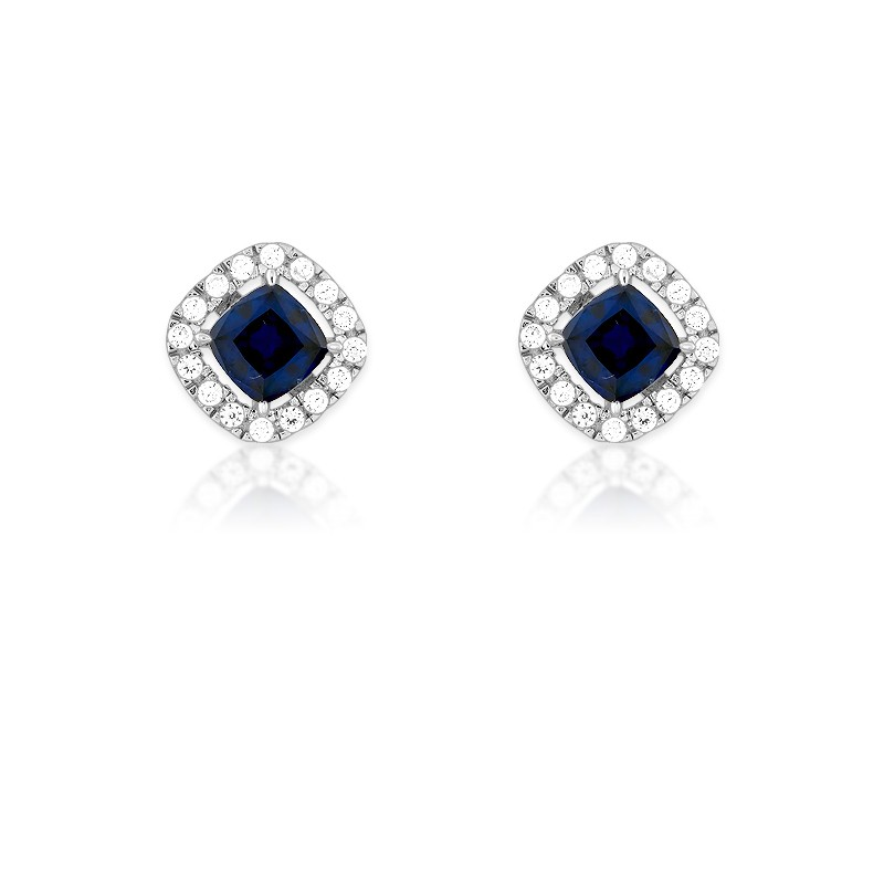 Sterling Silver Genuine Sapphire Corundum and White CZ Micro Pave Square Stud Earrings