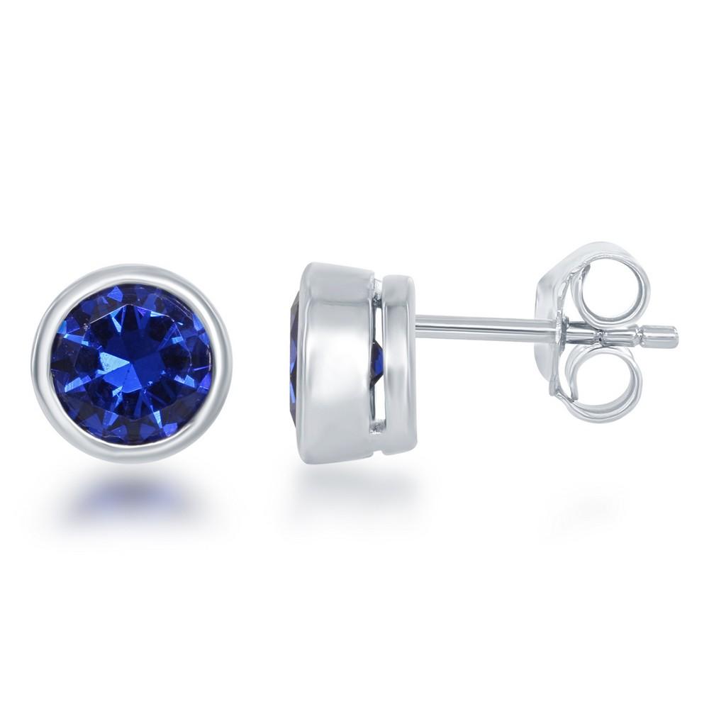 September Created Sapphire Bezel Set Stud Earrings
