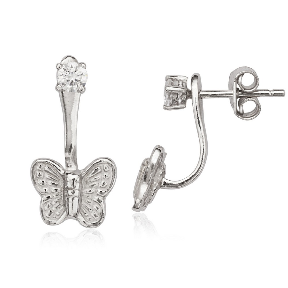 Sterling Silver Front 3mm CZ with Back Butterfly Earrings