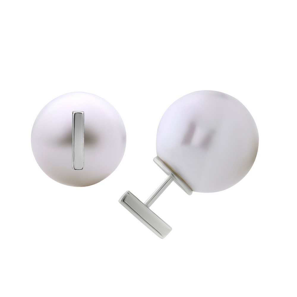 Sterling Silver Bar Front with 12mm White Pearl Back Earrings