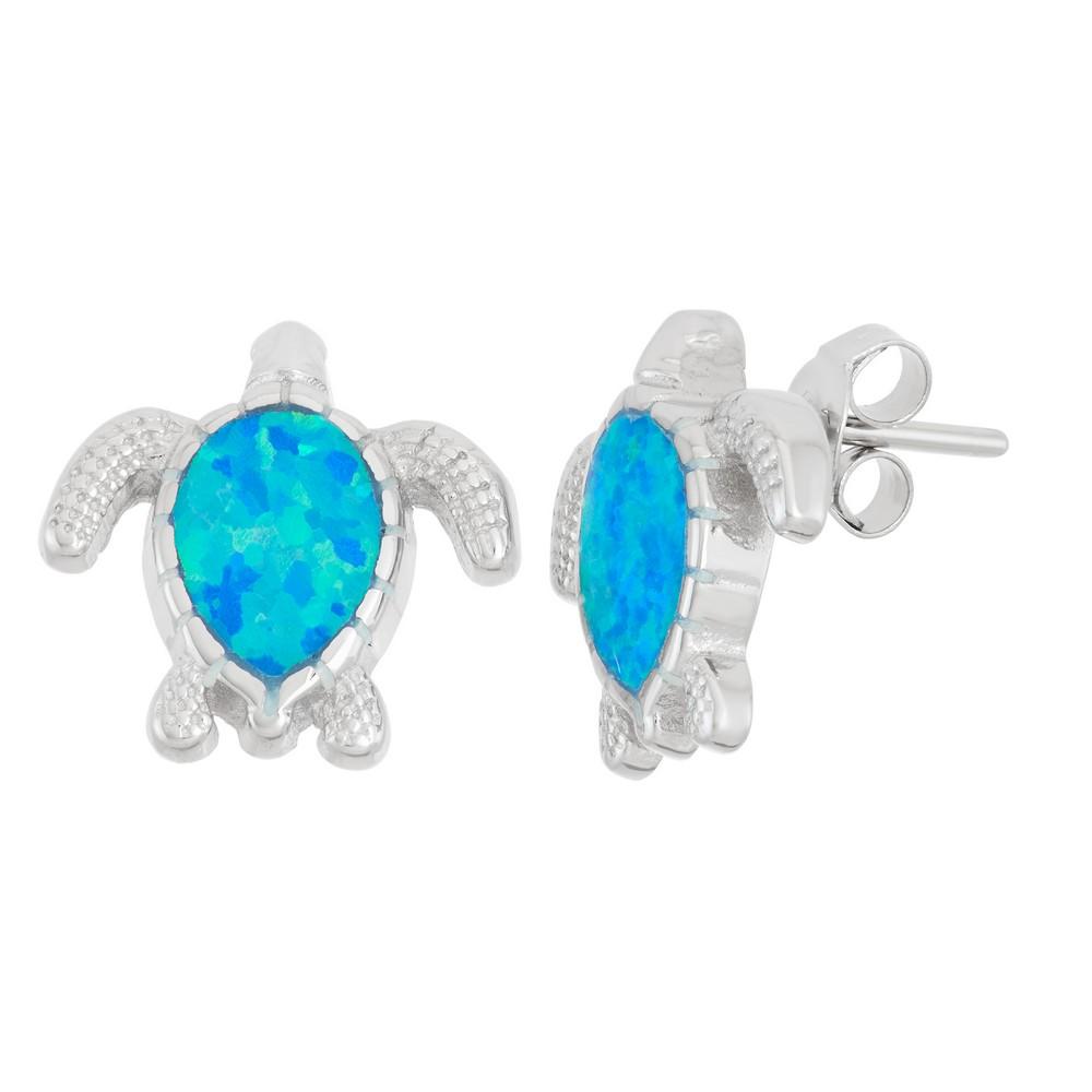 Sterling Silver Blue Inlay Opal Turtle Earrings